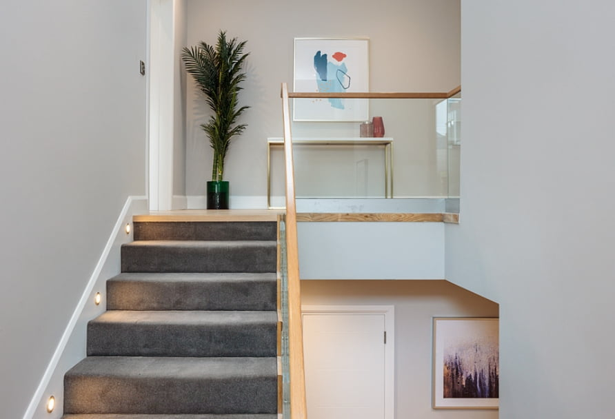 Photo of staircase at a St. Paul's Square 3-bedroom home.